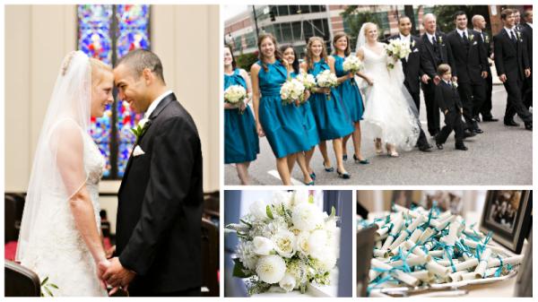 Beautiful Birmingham Weddings - Teal Bridesmaid Dresses