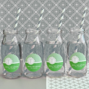 Milk Bottle Favors with Striped Straws