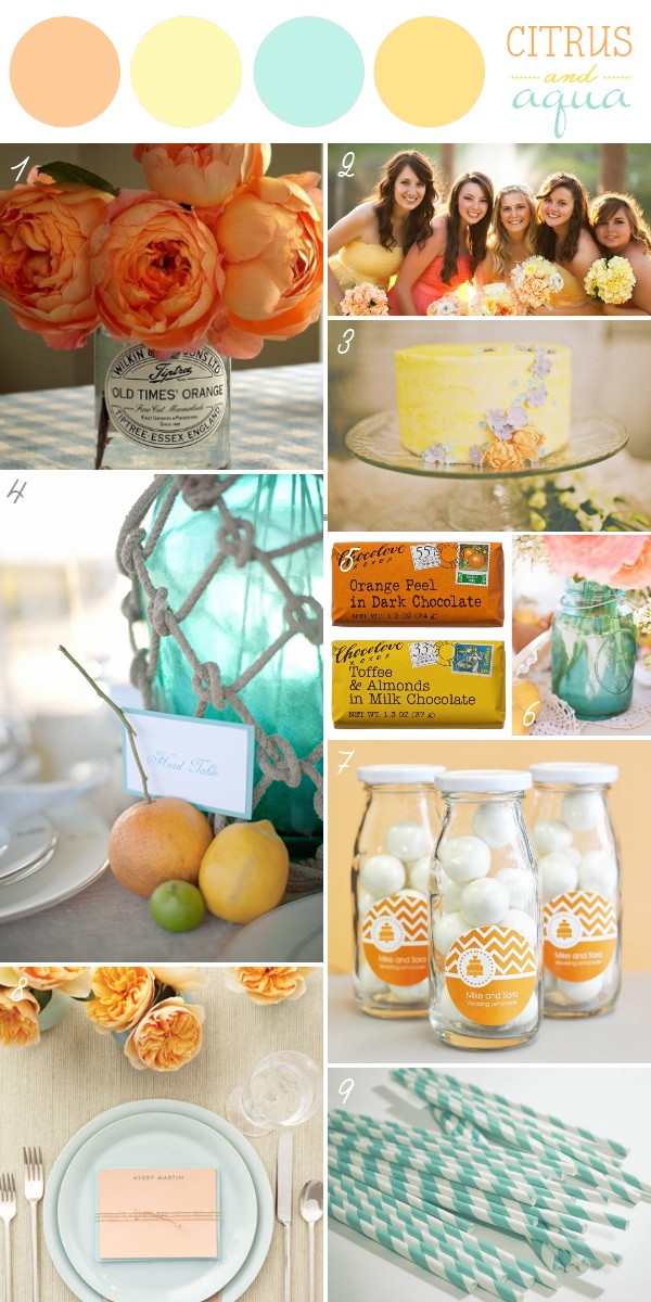 Wedding Color Schemes - Orange, Pink, Aqua