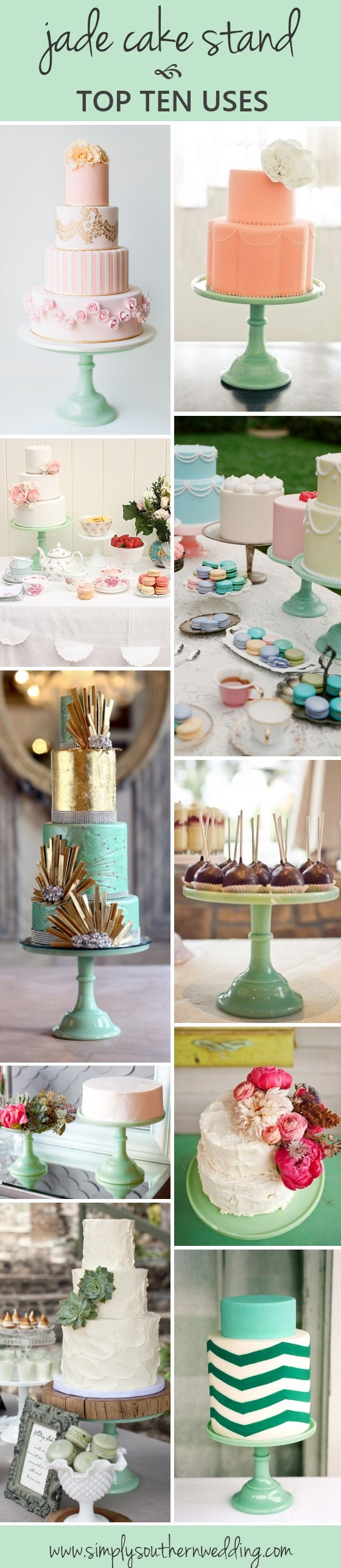 mint green in weddings - jade cake stand