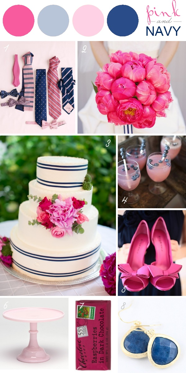 Wedding Color Schemes - Pink and Navy
