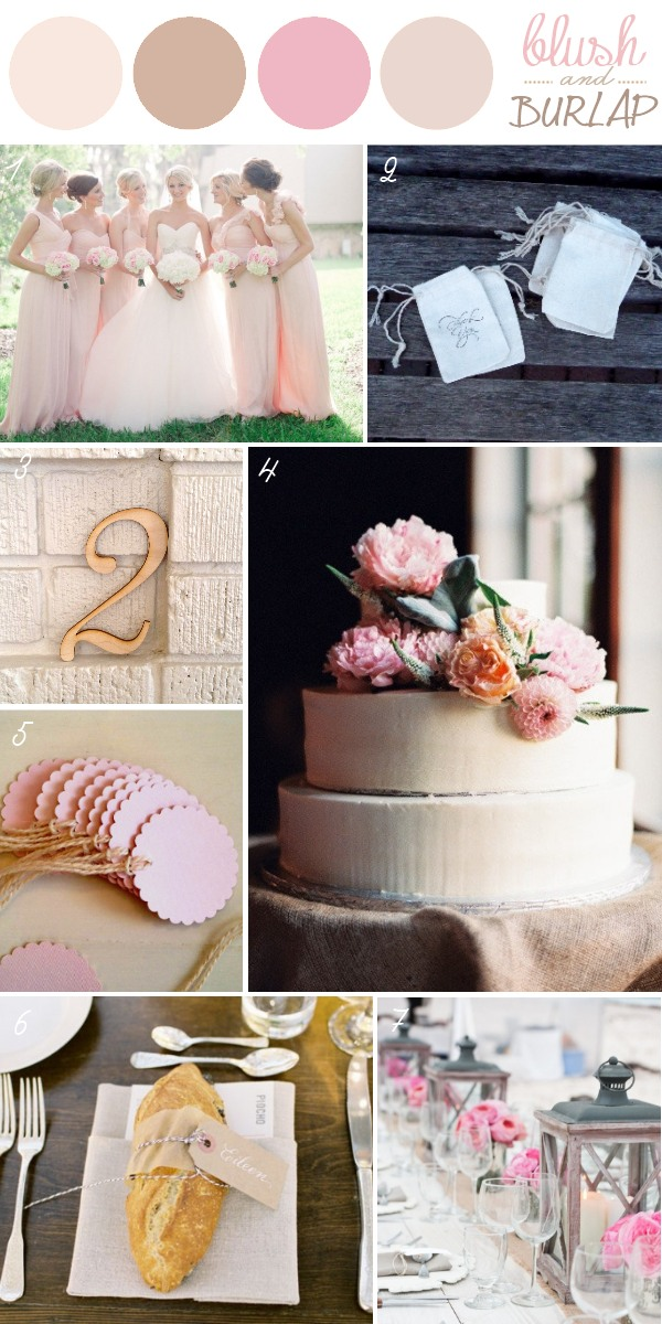 Burlap in Weddings - Blush & Natural Color Palette