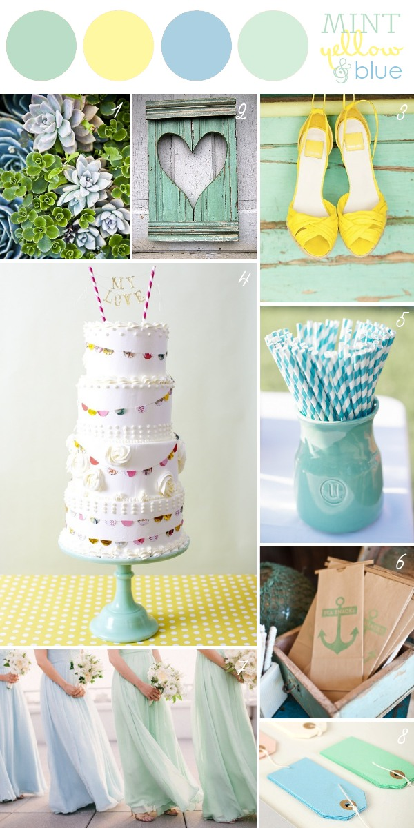 Mint + Blue + Yellow Wedding Color Scheme
