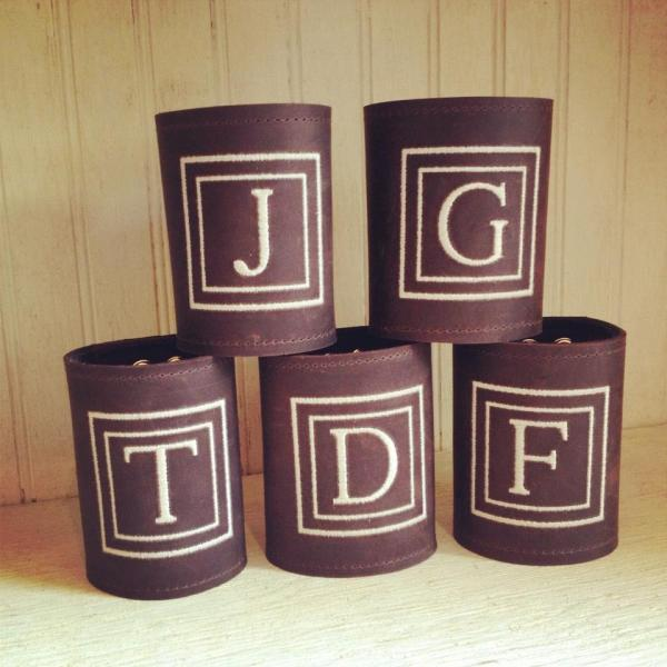 Handmade Leather Koozies - Monogrammed Wedding Gifts