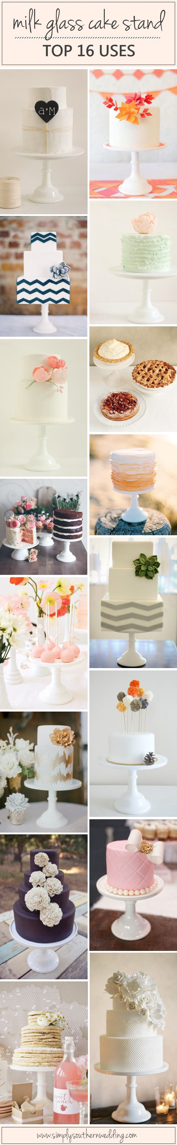 Small Wedding Cakes - White Milk Glass Cake Stand