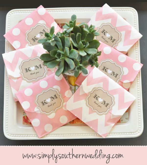 Polka Dot & Chevron Personalized Favor Bags