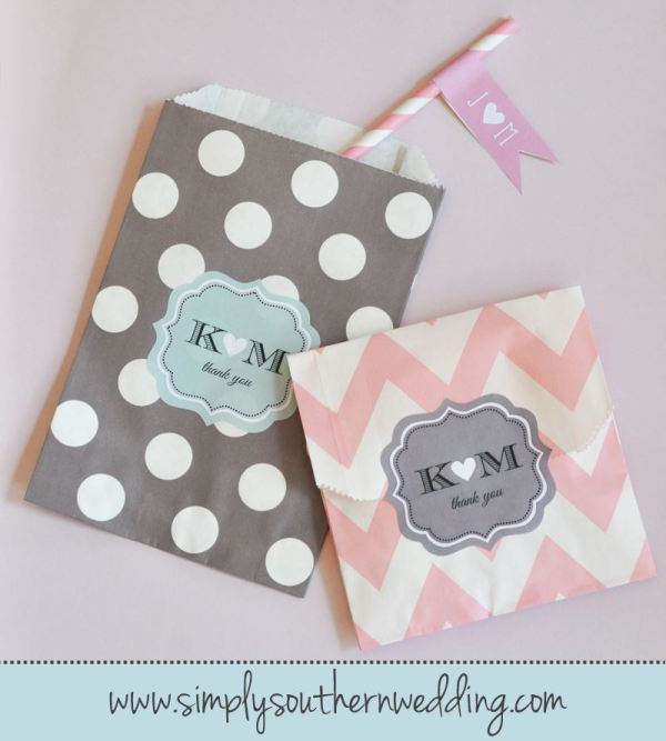 Candy Buffet Bags - Grey & Pink Chevron