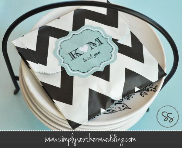 Personalized Chevron Favor Bags - Black & Blue
