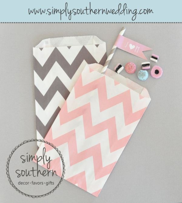 Chevron Goodie Bags - Pink & Grey