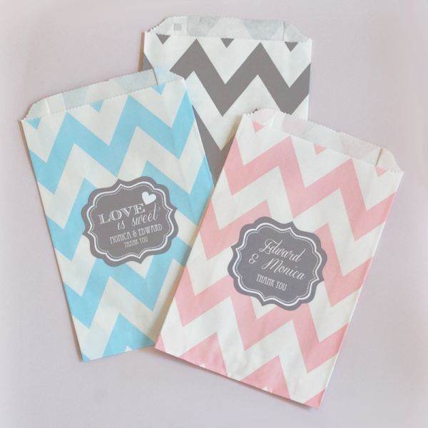 Pink, Blue, & Grey Chevron Favor Bags