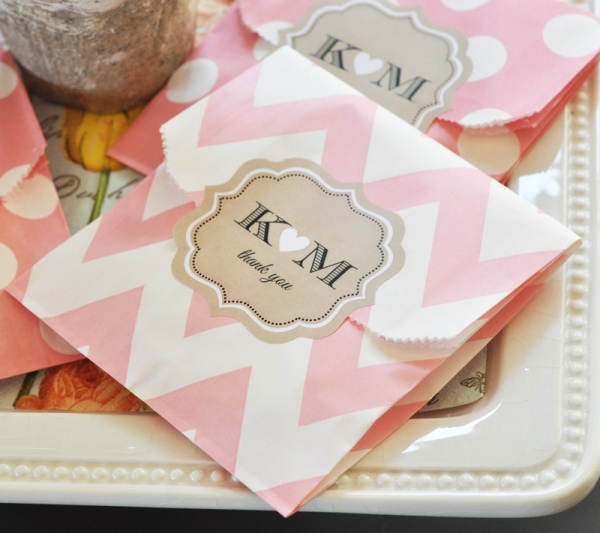 Personalized Pink Chevron Party Favor Bags
