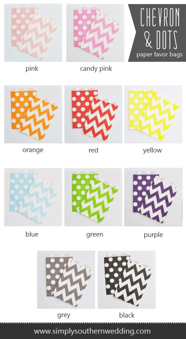 Colorful Chevron Wedding & Party Favors Bags