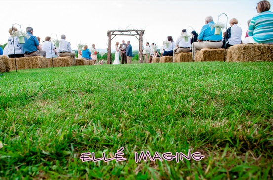 Hay Bale Ceremony Seating - Rustic NC Wedding