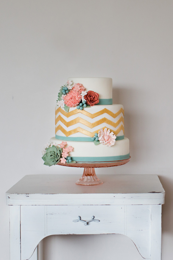 Chevron Wedding Cake - Pink Cake Stand