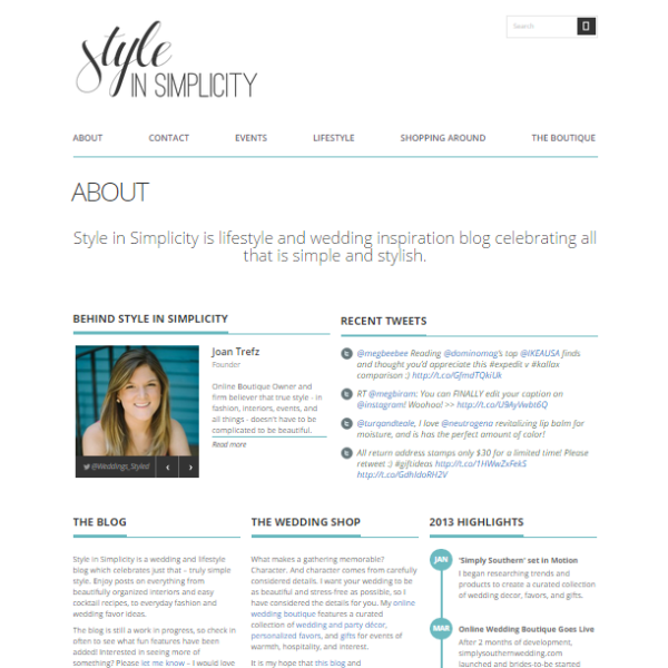 Our New Lifestyle Blog, Style In Simplicity